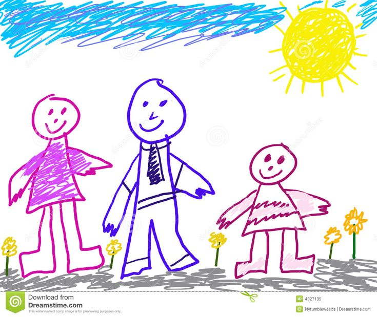 child like drawing of family