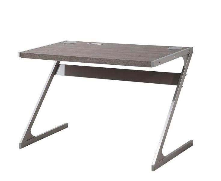 Gray Modern Metal Desk with Bluetooth Speaker