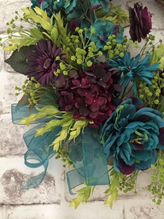 Teal And Plum Fall Wreath For Door Front Door By AdorabellaWreaths. Silk  Flower WreathsFloral ...