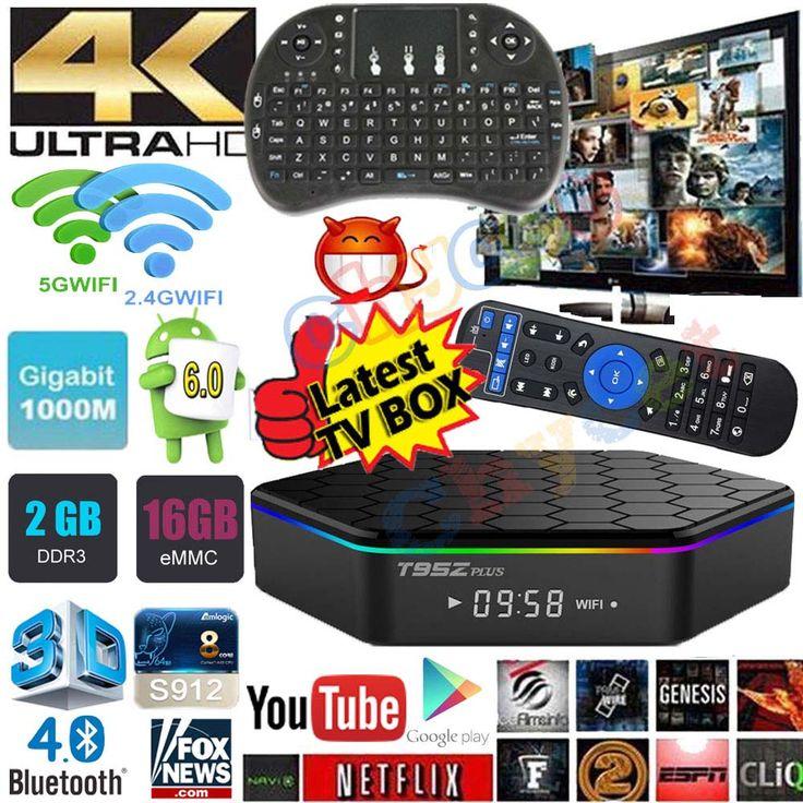 T95Z Ditambah Android 6.0 tv box Amlogic S912 Octa Inti 2g 16g iptv ganda WiFi 1000 M Gigabit Cerdas TV Box 3D 4 K media player PK X96