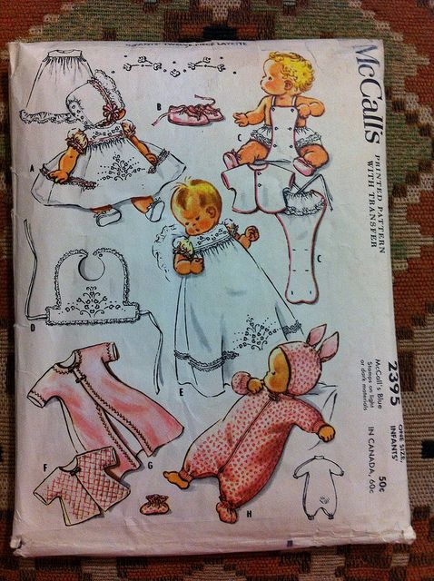 McCall's 2395 vintage baby layette sewing pattern. Love the bunny ears!