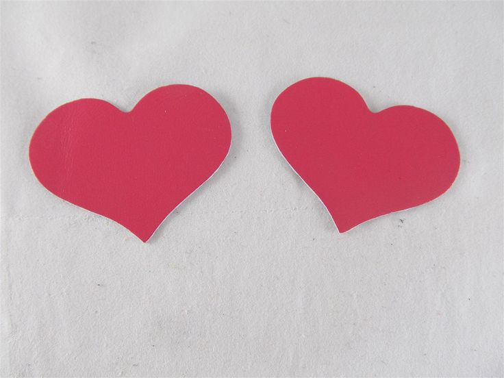 Fushcia leather hearts 55mm (2 pcs) DIY cut leather flowers Craft supplies Jewelry materials Leather pieces