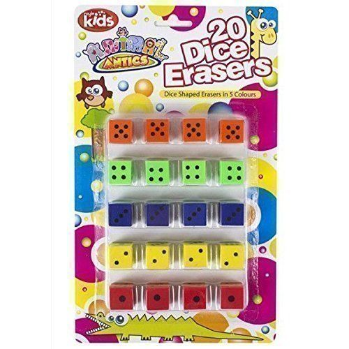 20 x Dice Shaped Erasers - Party Bag Fillers