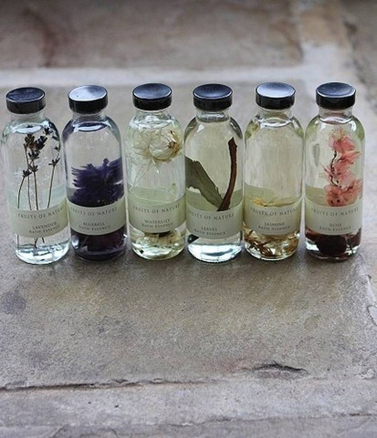 Natural Bath Essences - made with lavendar, rose, waterlily, mint, etc. Save those cute little bottles you get at the hotel and reuse.