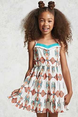 Buy it now. Girls Printed Cami Dress (Kids). DetailsForever 21 Girls - A linen dress featuring an allover tribal-inspired print, a crochet V-neckline, pom pom trim bib, adjustable cami straps, an elasticized waistband, and a ruffle hem.Content + Care- 100% cotton- Hand wash cold- Made in ChinaSize + Fit- Measured from a Size 7/8- Bust to hem: 23- Chest: 24- Waist: 25 , vestidoinformal, casual, informales, informal, day, kleidcasual, vestidoinformal, robeinformelle, vestitoinformale, día…