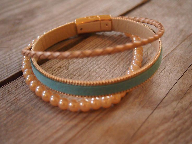#armband #zomer #sieraden #workshop #leer #blauw #parels