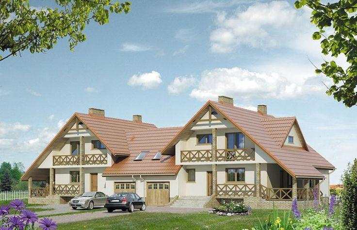 Antrakt to projekt domu bliźniaczego z częściowym podpiwniczeniem i poddaszem.