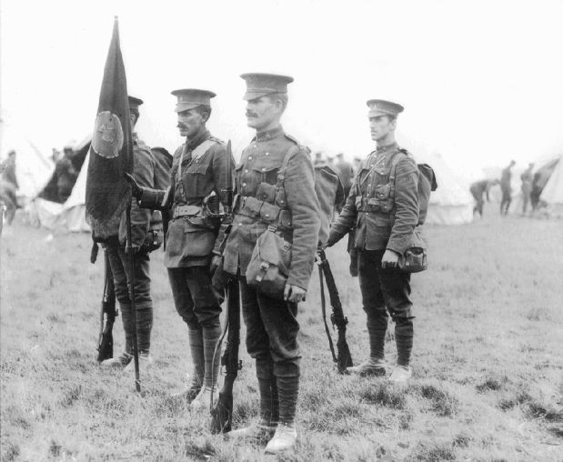 Princess Patricia presented the regimental Colour to the PPCLI in 1914. Shown here with a colour party, it was carried by a subaltern with an armed escort of sergeants.