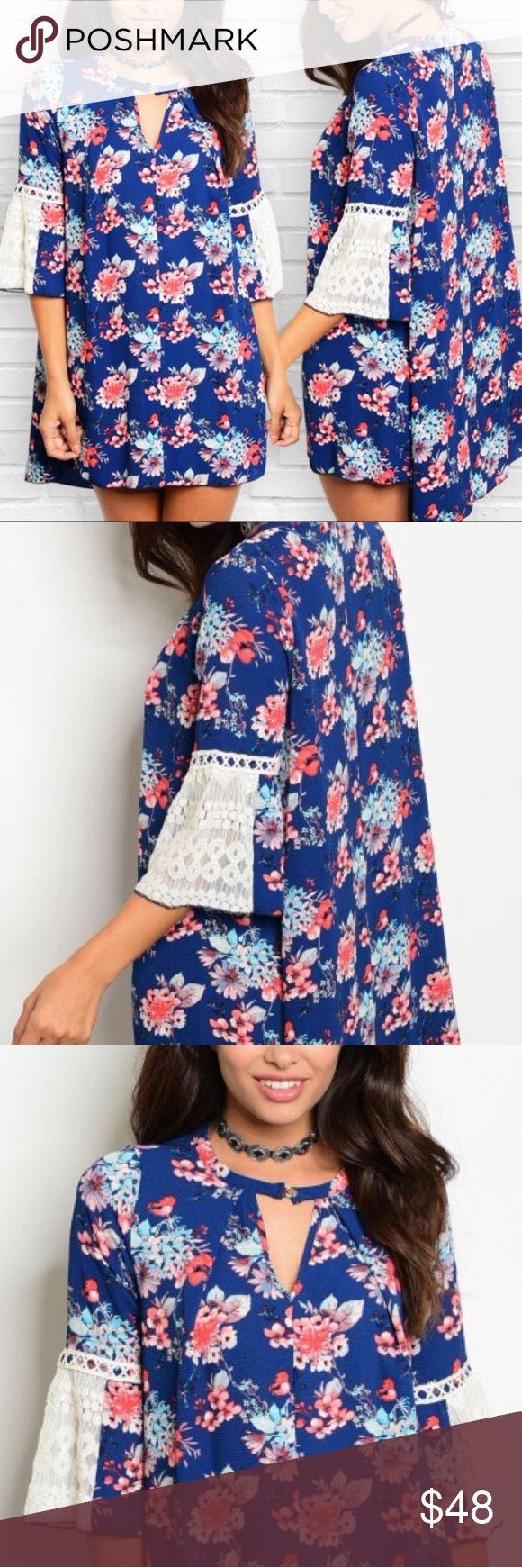Navy Floral Bell Crochet Sleeve Dress Navy Floral Bell Crochet Sleeve Dress  97% Polyester 3% Spandex  No trades. Price is firm unless bundled. Glamvault Dresses Mini