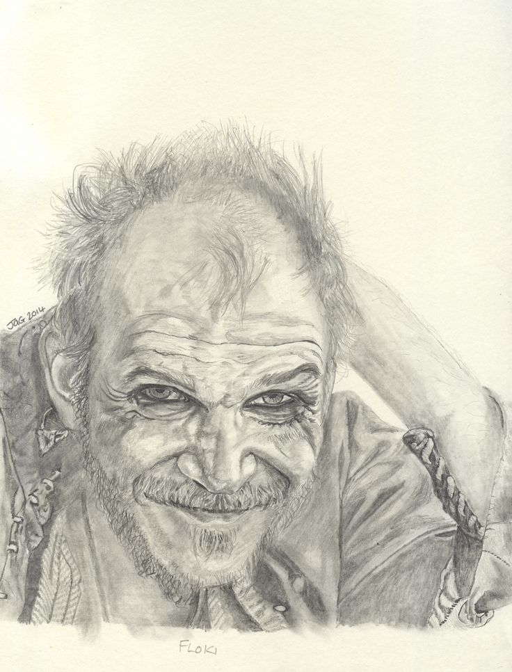 Floki actor Gustaf Skarsgard from Vikings, pencil drawing