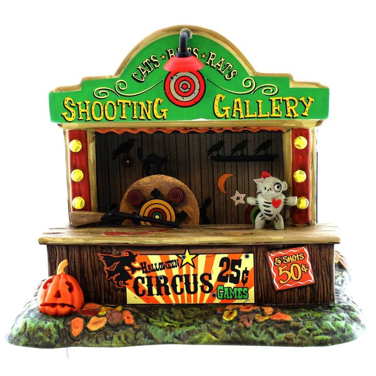 Dept 56 Accessories Cats Bats Rats Shooting Gallery Village Animated Halloween Accessory