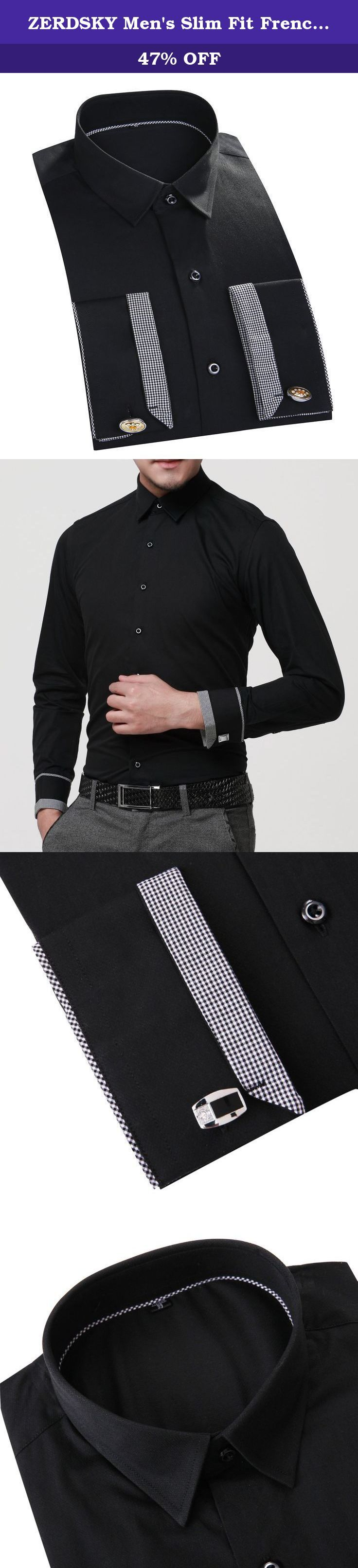 """ZERDSKY Men's Slim Fit French Cuff Dress Shirt(Cufflinks Included) Black 39. With cuff links(random style). Left chest pocket. Slim Fit ,High Quality. Machine or Hand Wash. Please click """"ZERDSKY"""" to see more dress shirt."""
