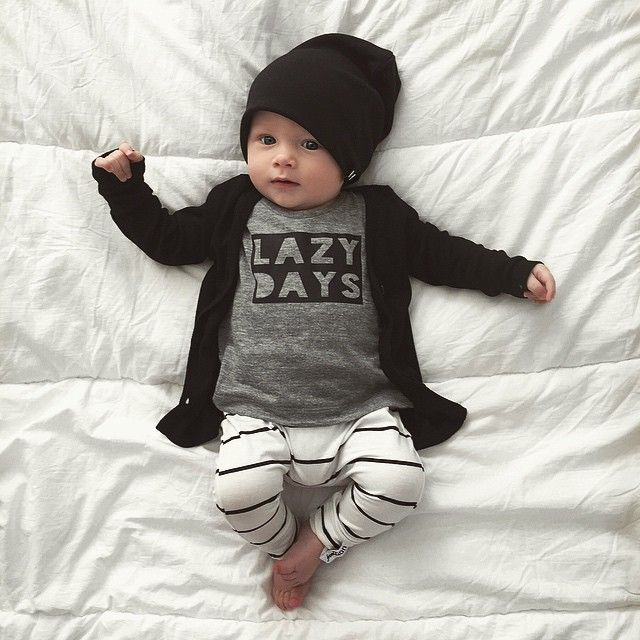 Immunizations yesterday mixed with teething calls for a lazy Saturday at home with our 3 little loves My fav kind of Day! Happy Saturday everyone! ☀️ Knoxies outfit: Lazy Days Tee- @vagabondbabe Stripe Harems- @fromzion_  Black Cardi & Beanie (small)- available online now www.beauhudson.co