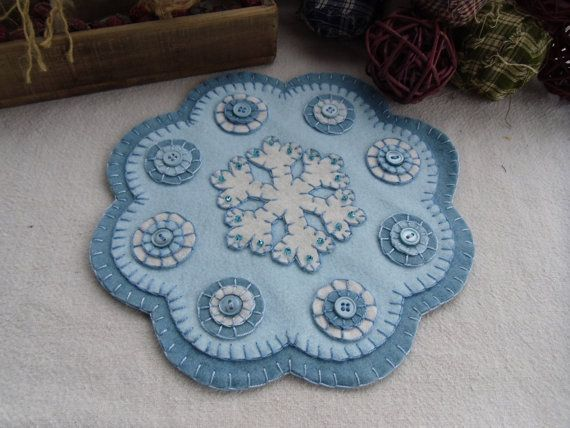 Wool Felt Penny Candle Mat Snowflake Winter by WicksFlicksNGifts, $25.00