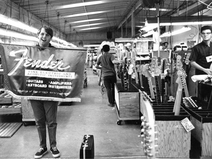 carl wilson from the beachboys at the fender factory in fullerton california 1964 fender. Black Bedroom Furniture Sets. Home Design Ideas