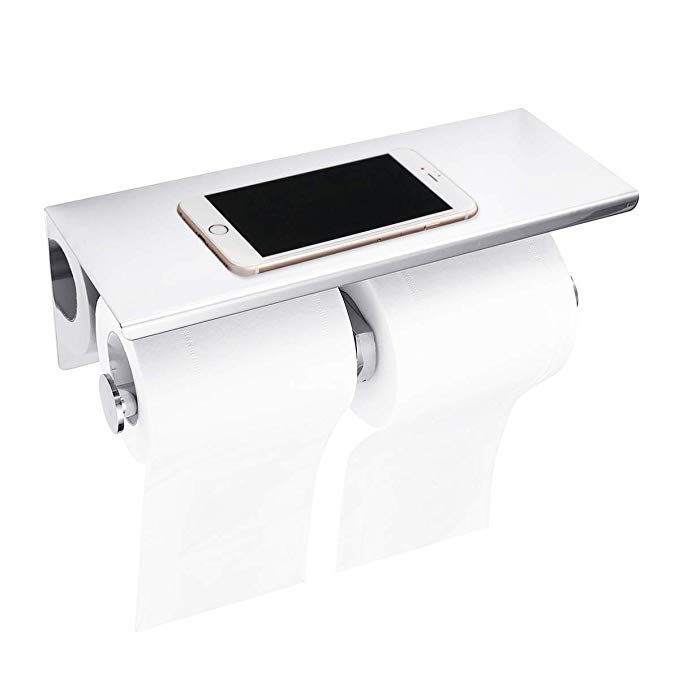 Bathroom Toilet Paper Roll Holder with Shelf 304 Stainless Steel!