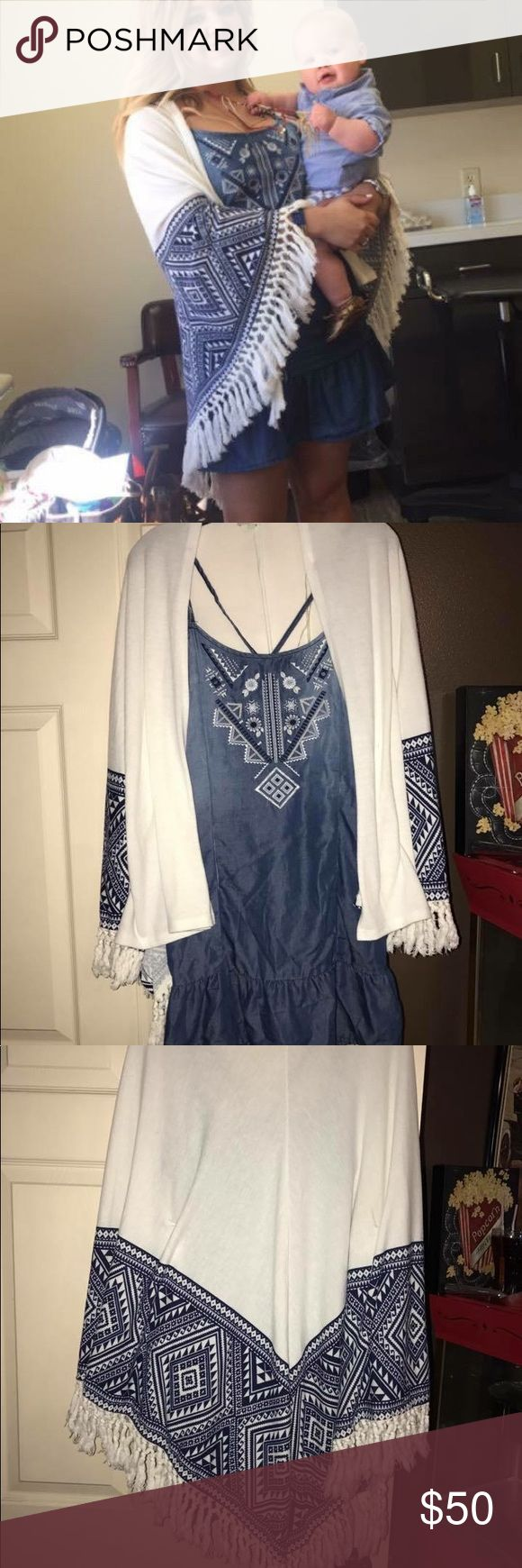 Gianni Bini chambray dress& Gianni Bini kimono Gianni Bini Chambray dress and matching Gianni Bini kimono with fringe detailing! Both worn only once! Dress is size small and kimono is size medium! Perfect condition selling together or can be sold separately! Gianni Bini Dresses Mini