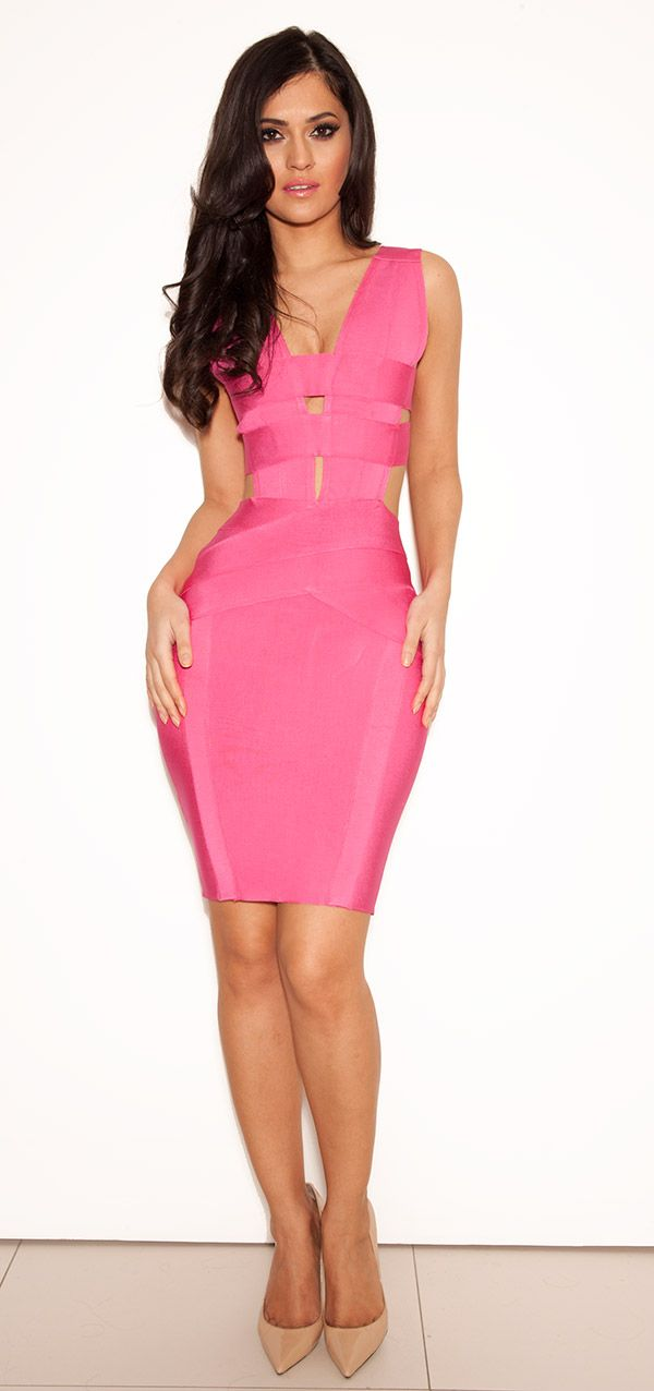 Clothing : Bandage Dresses :'Akeno' Hot Pink Cut-out Bandage Dress ...