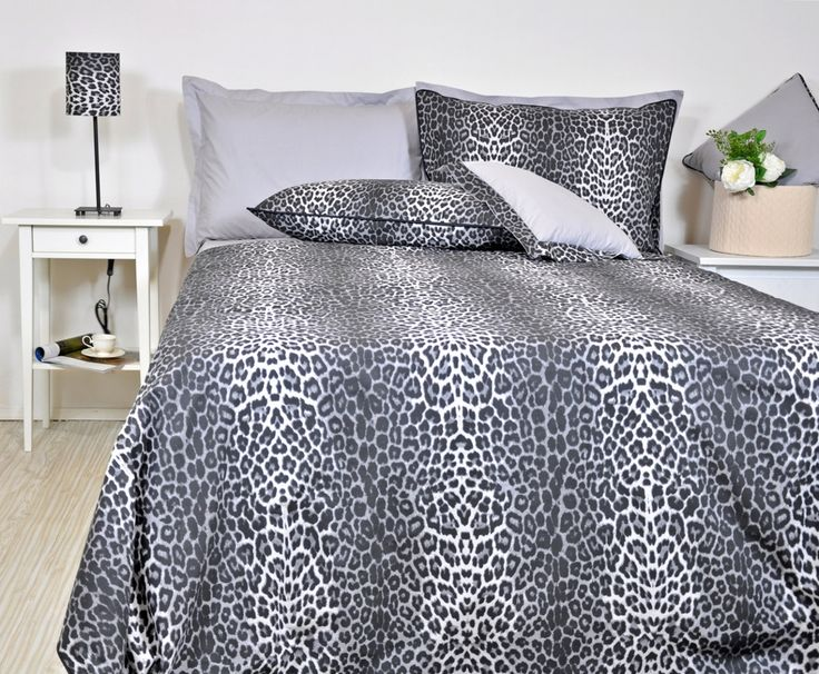 Leopard Bedding Set in Full Queen King Size - Black Smoky Gray Leopard Print Cotton Fabric, 6 pcs Leopard Duvet Cover and Sheet Set by RoseHomeDecor on Etsy