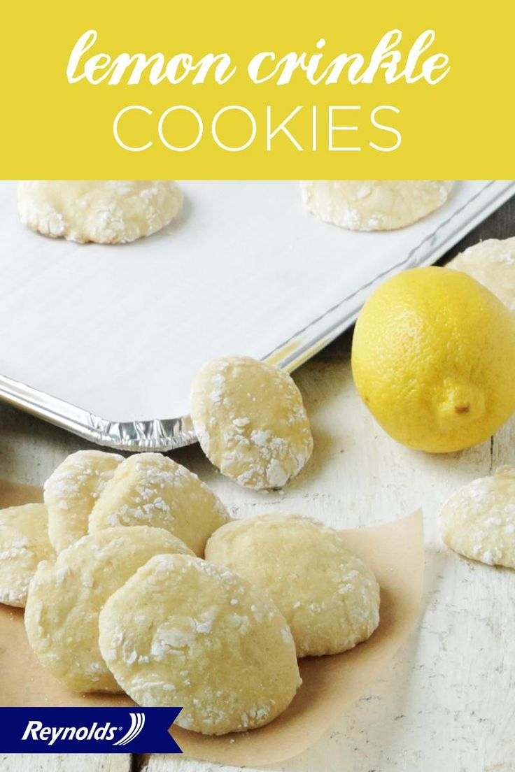 Our Lemon Crinkle Cookies are light, tasty, and a breeze to bake. In fact, these simple ingredients are probably already in your kitchen! To create deliciously soft but crunchy cookies, roll the dough in powdered sugar. Use non-stick Reynolds® Bakeware Cookie Sheets with Parchment Paper to make cleanup fast and easy. Plus, your cookies will slide right off the pan—and into your mouth.