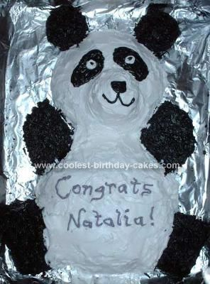 Homemade Panda Bear Cake: I made this homemade Panda bear cake for my sister in law's graduation from college. She loves Panda Bears, so I thought I'd make her a Panda cake. My