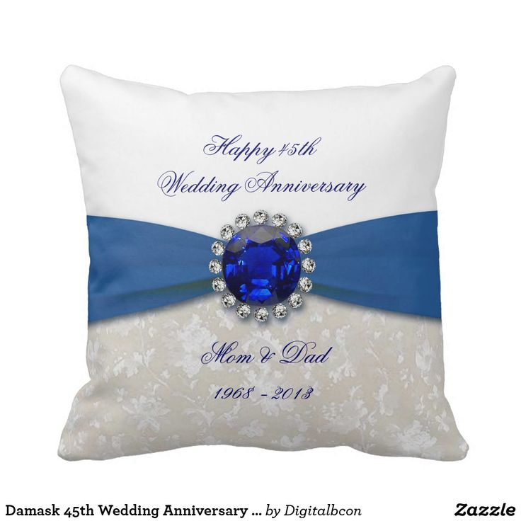 Damask 45th Wedding Anniversary Throw Pillow 76
