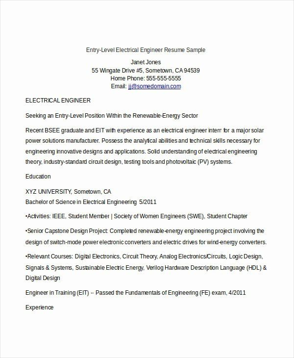 Entry Level Electrical Engineer Resume Elegant College Essay Writing Samples In 2020 Engineering Resume Templates Engineering Resume Job Resume Samples