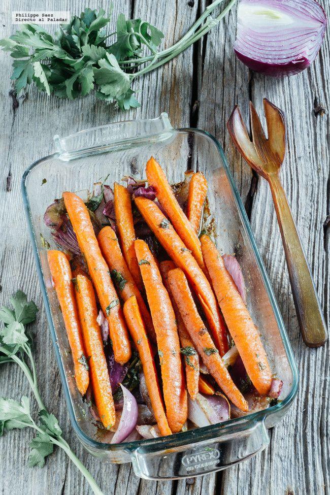 Zanahorias asadas con comino. Cortar las zanahorias pequeñas.  Más tiempo 45min?