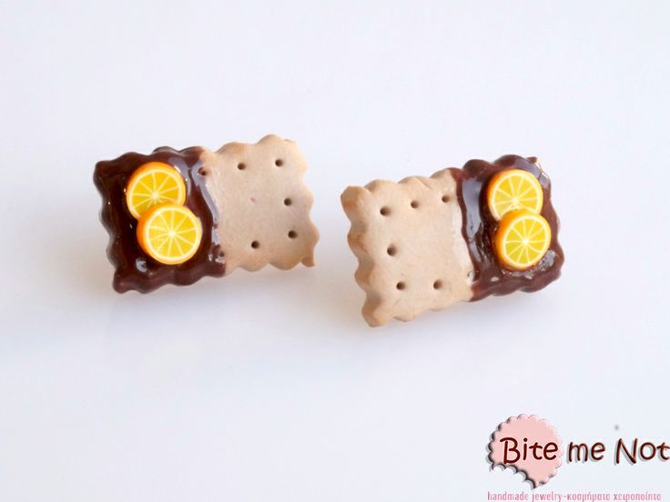 Chocolate-orange biscuits-mini food jewelry-non edible-realistic food miniatures! -Silver plated post earrings