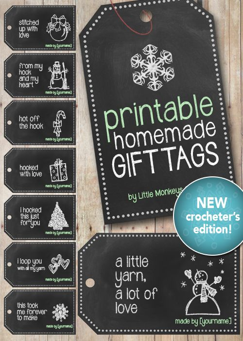 Free Printable Chalkboard Gift Tags for Crocheters | Free Printable by Little Monkeys Crochet