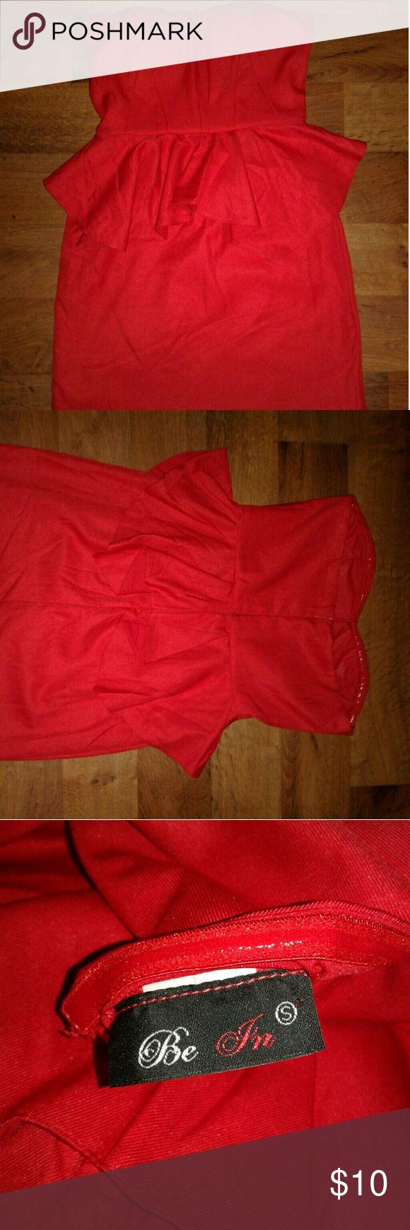 Peplum dress Red cute peplum dress...super good condition. Dresses Strapless
