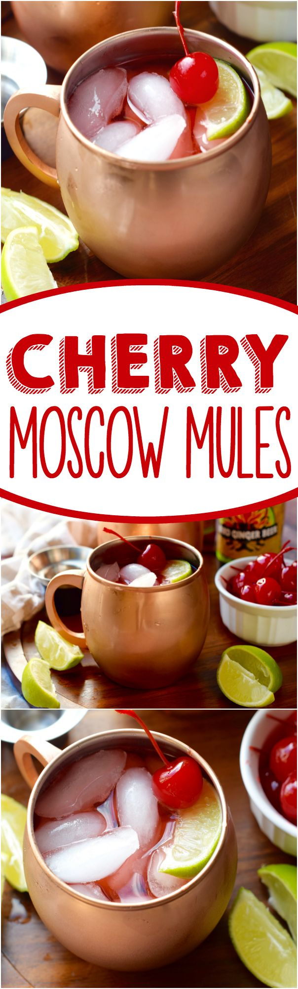 These Cherry Moscow Mules are a delicious twist on an amazing cocktail! Make a pitcher for your next get together!: