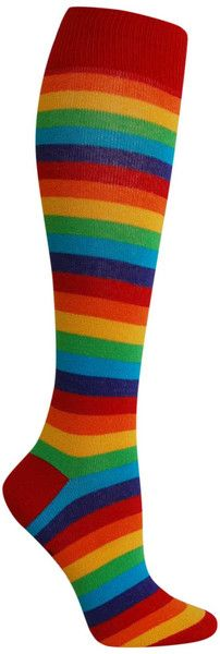 Does this mean there's pot of gold in your shoe? (That's the end of this rainbow.) Knee high socks rainbow colors in stripes. Fits women's shoe size 5-10.