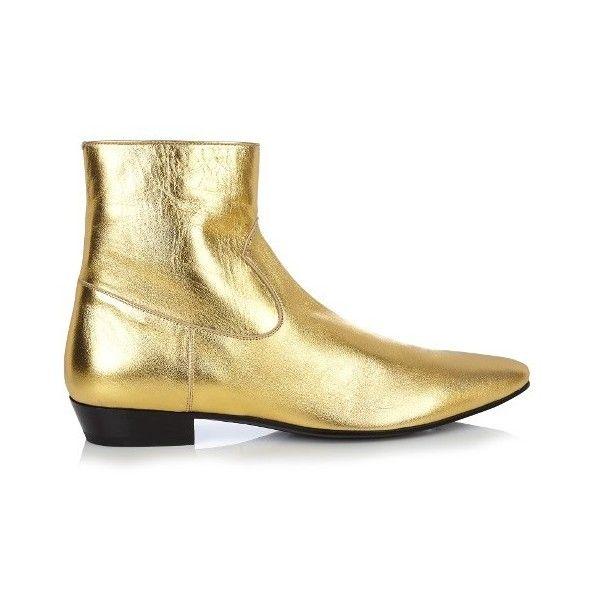 Saint Laurent Devon leather ankle boots (76.945 RUB) ❤ liked on Polyvore featuring men's fashion, men's shoes, men's boots, gold multi, shoes, mens leather shoes, mens cuban heel boots, mens leather cowboy boots, mens leather boots and mens short cowboy boots