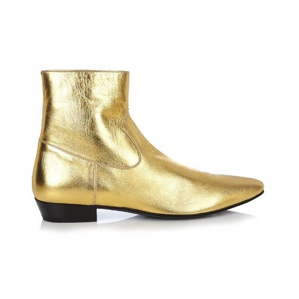 Saint Laurent Devon leather ankle boots (76.945 RUB) ❤ liked on Polyvore featuring men's fashion, men's shoes, men's boots, gold multi, shoes, mens leather shoes, mens cuban heel boots, mens leather cowboy boots, mens leather boots and mens short cowboy boots