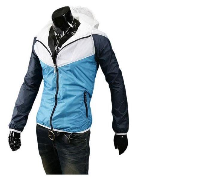 New Arrival Men Zipper Jacket Stitching design High Quality Hood Jacket Men's Bomber Jackets Blue/Orange