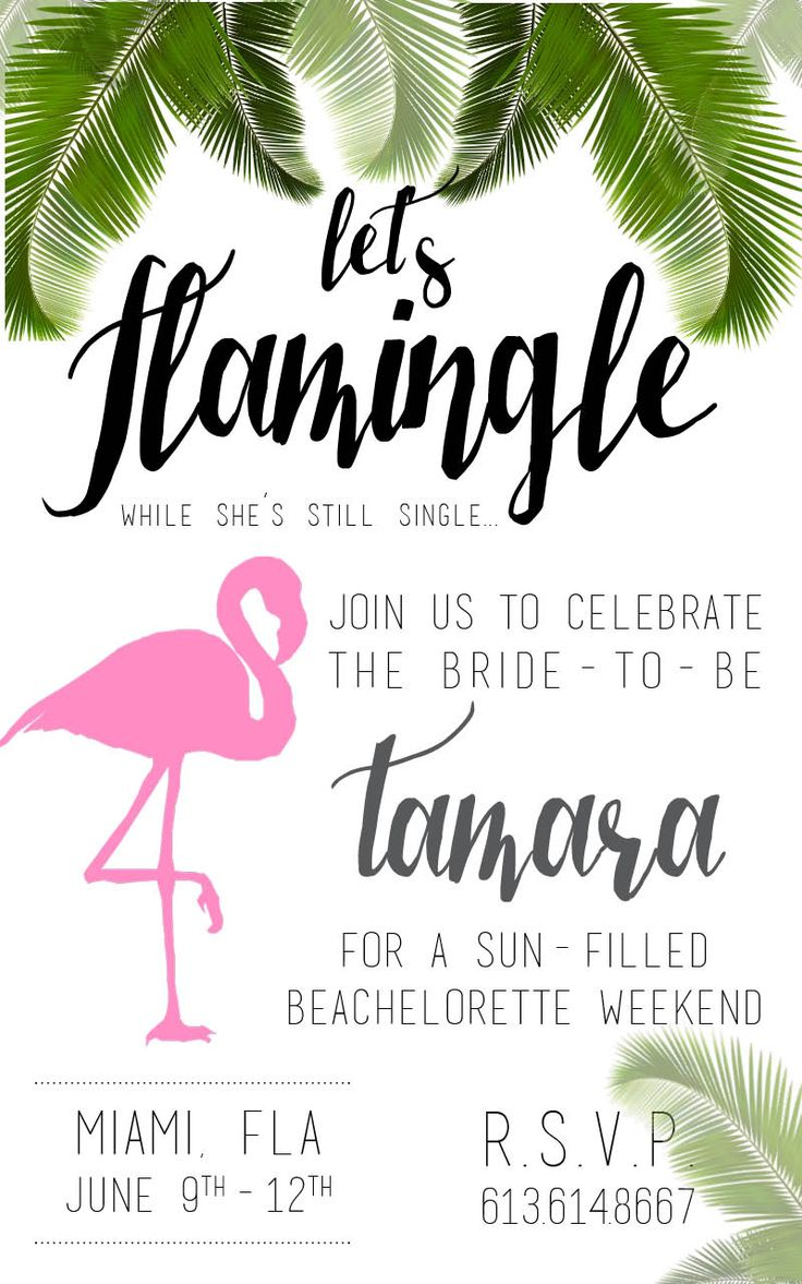 Let's flamingle! Flamingo theme bachelorette invitations in Miami