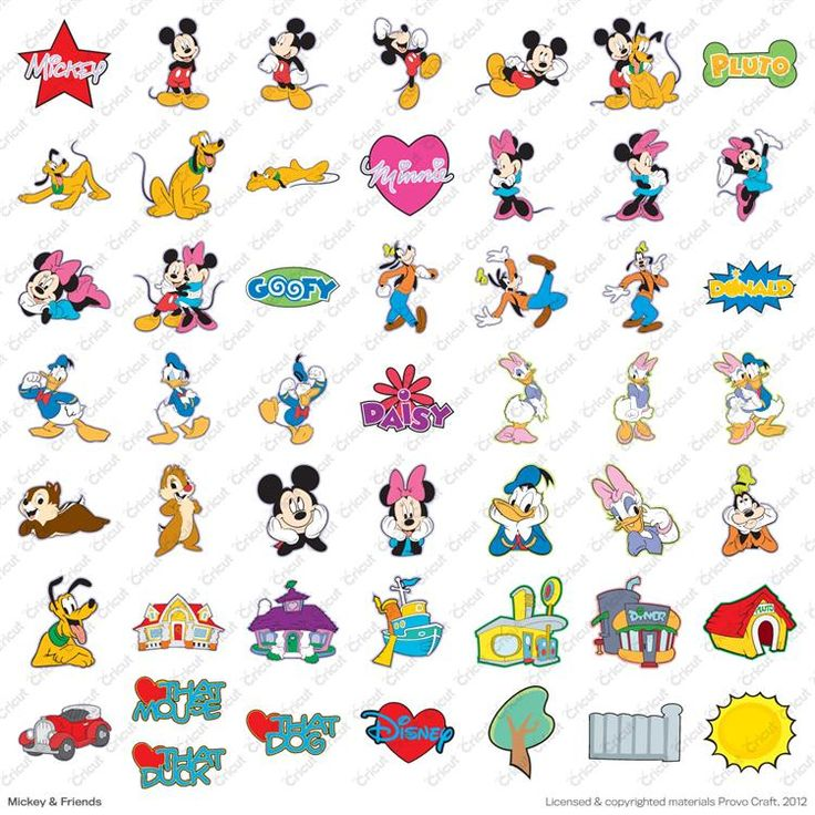 Disney© Mickey and Friends Cricut® Cartridge - for future reference of what characters look like