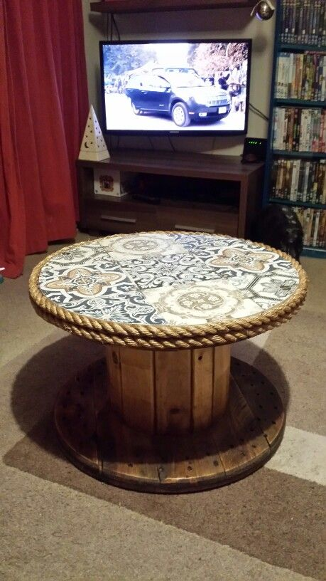 Cable drum coffee table
