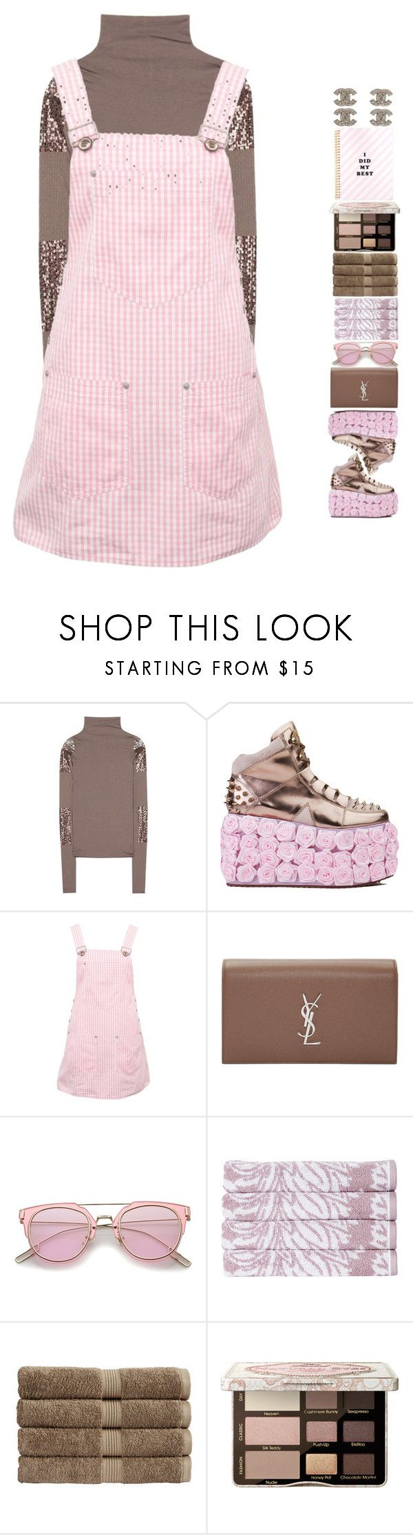 """""""5579"""" by tiffanyelinor ❤ liked on Polyvore featuring Rick Owens, Y.R.U., Versace Jeans Couture, Yves Saint Laurent, Christy, Too Faced Cosmetics and Chanel"""