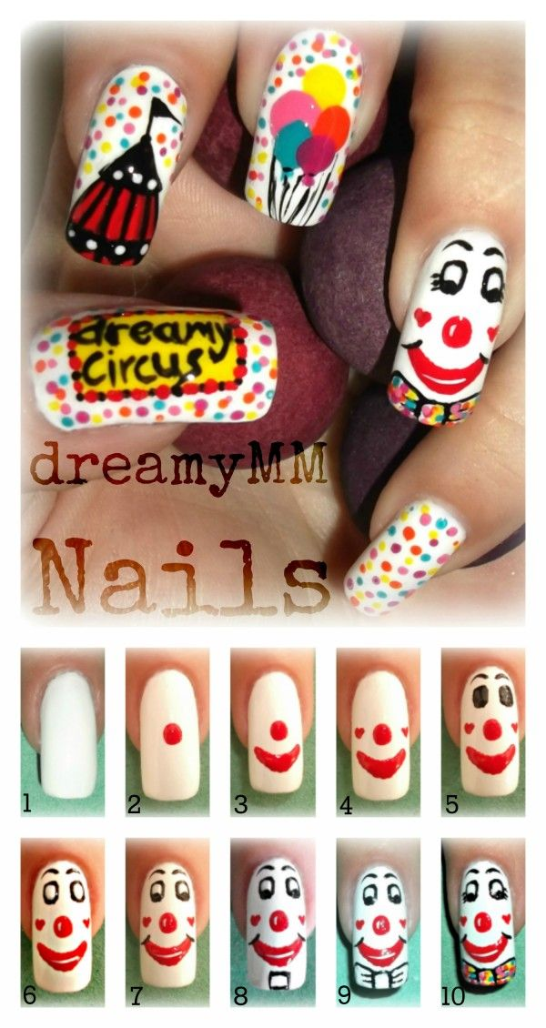 VOTE FOR YOUR FAVORITE until 09/30/2012! www.SimpleNailArtTips.com  Circus Clown Nail Art Tutorial Entry