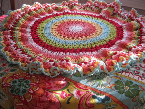 Whimsical Colorful Crochet Table Cover  by BlissfullyCrocheted, $75.00