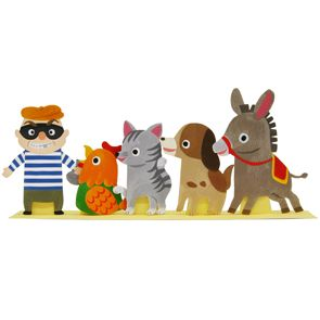 "Free to print Finger Puppets Paper Craft. This is a finger puppet set featuring the characters from world-famous Grimm fairytale, ""The Bremen Town Musicians."" Put the puppets on your fingers and move them to act out the story. / Fingerpuppen Bremer Stadtmusikanten"