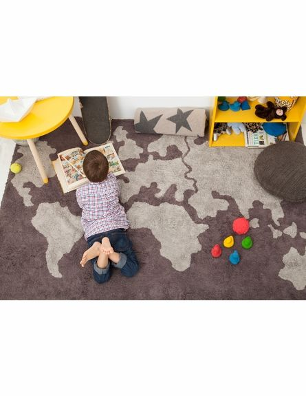 World Map Cotton Rug in Dark Grey #rosenberryrooms