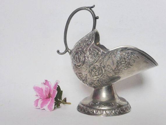 Zilveren vergulde Victoriaanse stijl suiker kubus Scuttle ~ reliëf ~ Vintage…
