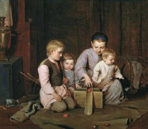Кошелев. Дети, катающие пасхальные яйца. 1855 (?)