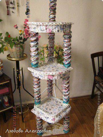 Поделка изделие Плетение Бумажная этажерка +плетенки Трубочки бумажные фото 1