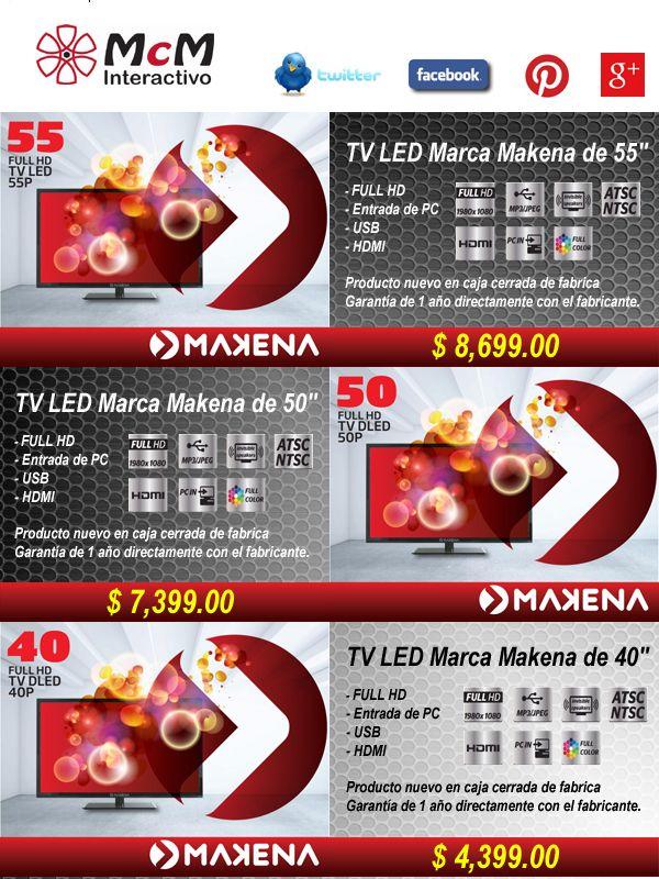 """Super Precio en TV Marca Makena 40"""" desde $ 4,399.00"""