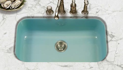 Do you want a new kitchen sink — in a retro color? New resource discovered!  Houzer has three different styles of porcelain-enameled steel undermount kitchen sinks available in eight colors — including a lovely aqua that looks oh-so-close to the vintage color appliances and steel cabinets that we see and love. Hey: Add this sink to …