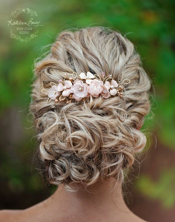 Rose gold Hair comb hairpiece blush pink - wedding bridal hair accessories - veil comb - gold - silver option